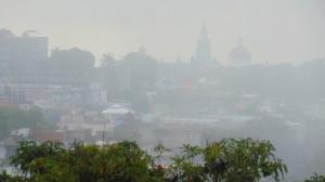 Downtown Cuernavaca seen through morning fog
